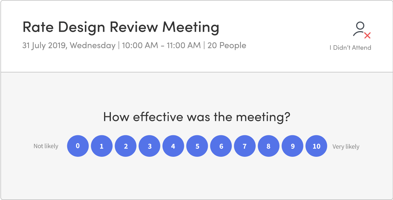 Share NPS surveys through Rate The Meeting and collect feedback.